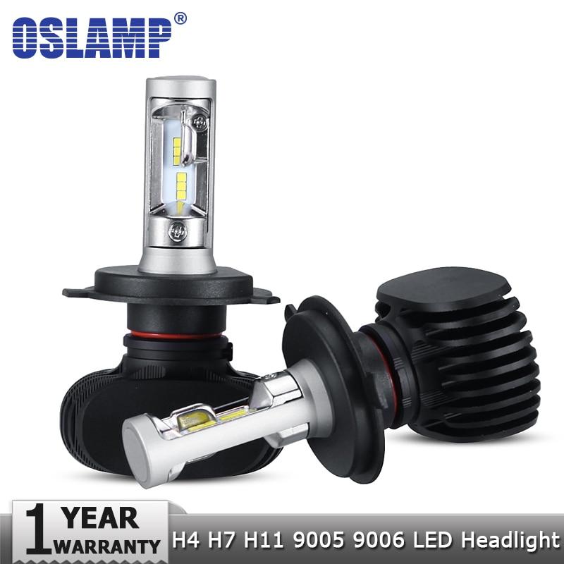 Oslamp H4 Hi lo H7 H11 9005 9006 Car LED Headlight Bulbs CSP Chips Auto Led Headlamp Fog Light Bulbs 50W 8000LM 6500K 12v 24v 2pcs 9006 27 led 5050 smd car auto xenon white head fog headlight light bulbs