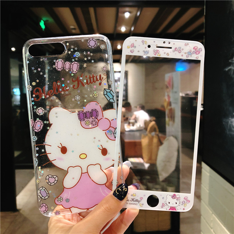 For iPhone 8Plus bling Hello Kitty case + glass flim ,Tempered Glass Screen film & KT Cover for iPhone 7 7plus 8 6 6S 6SPlus