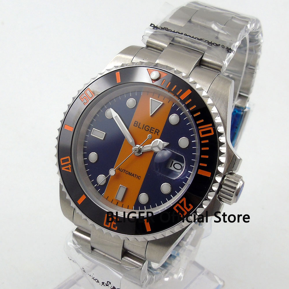 BLIGER 40MM Blue Orange Dial Black Ceramic Bezel Luminous Marks Sapphire Glass MIYOTA Automatic Movement Mechanical