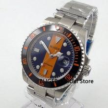 BLIGER 40 мм синий оранжевый Циферблат черный Керамика ободок светящиеся знаки сапфир Стекло Miyota автоматические механическое движение Для мужчин часы