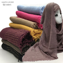NEW diamond Plain wrinkle hijab scarf women crinkle scarves and shawls fashion soft head scarf muslim skin hijabs