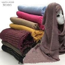 Nieuwe Diamant Plain Rimpel Hijab Sjaal Vrouwen Crinkle Sjaals En Sjaals Mode Zachte Hoofd Sjaal Moslim Huid Hijaabs