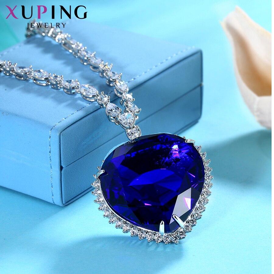 Xuping ожерелье в форме сердца с синтетическим кубическим цирконием, ювелирные изделия для женщин, подарки на Рождество, M11 43164 - 4
