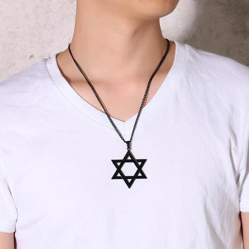 Men's Classic Star of David Pendant Necklace in Black Gold Silver Stainless Steel Israel Jewish Jewelry 24 inch