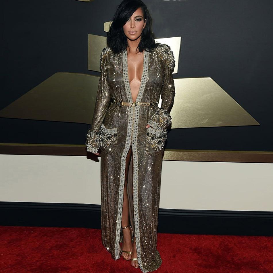 Seamyla 2017 New Fashion Women Coat Long Sleeve Beaded Runway Velvet   Trench   Sexy Winter Celebrity Party Kim Kardashian Coats