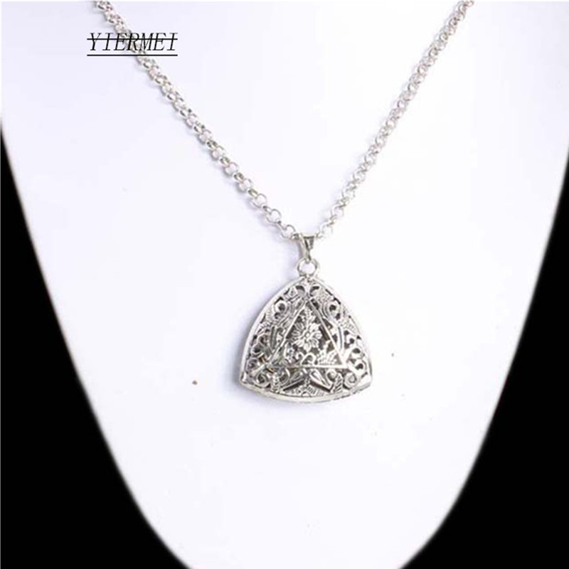 Korean version of the hollow printing triangle long sweater metal chain texture necklace motorcycle tire round jewelry pendant ...