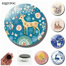 Cartoon Elk 30MM Fridge Magnets Glass Cabochon Decorative Refrigerator Magnet Magnetic Stickers Note Holder Christmas Home Decor