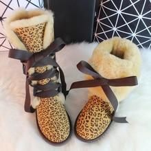BLIVTIAE /Luxury Winter Knee High Sheepskin Snow Boots Natural Wool Sheep Fur Boots Strap Sweet Bow Women Long Boots Flats Shoe