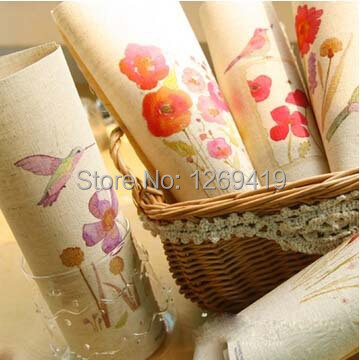 7 Unids/lote 20*30 cm Mano Teñido de Algodón de Lino Tela de Flores de Primavera
