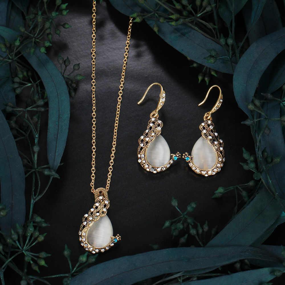 MMeier אופנה קסם תכשיטי סט עבור נשים טווס עיצוב אופל תליון שרשרת עגילים החדש Vintage אירוסין תכשיטי מתנה