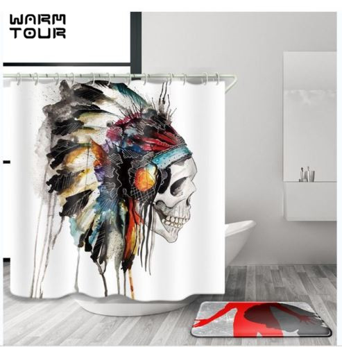 Warm Tour Indian Skull Decorative Fabric Shower Curtain Polyester Waterproof Bathroom Curtain WTC051