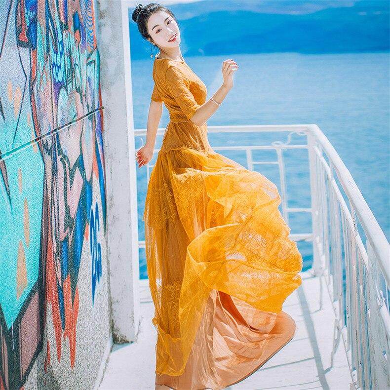 Robes Broderie Explosions Correspondant Loisirs Femmes Haute Dentelle Robe Printemps 2018 Été Jaune Qualité Casual Rouge hCQtrxsd