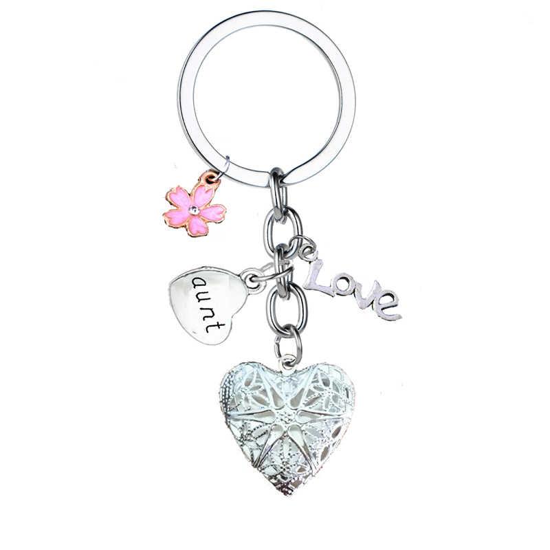 משפחת סדרת Keychain מתנה בת בן אמא אבא סבתא סבא אחות אח דודה הדוד לב תליון Keyring שלט מתנה