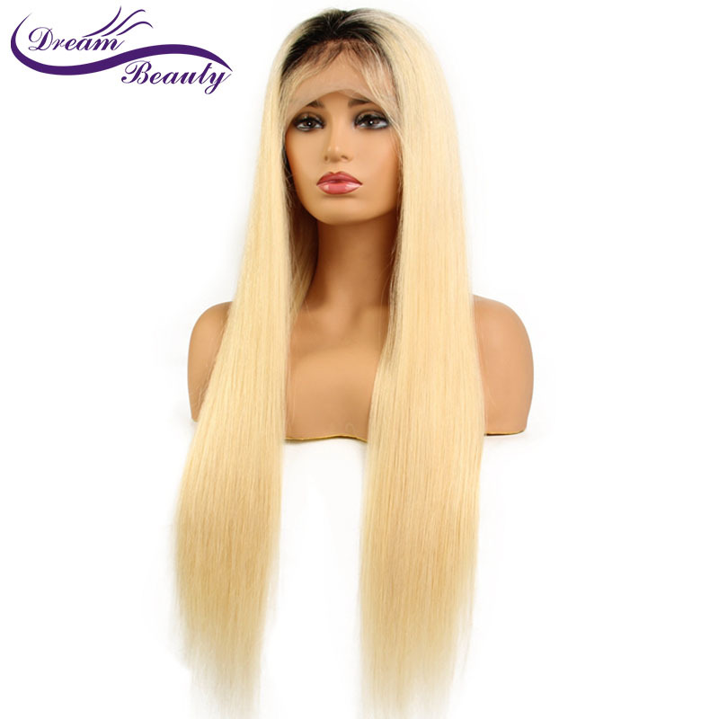 Dream Beauty 1B/613 Straight Hair Lace Front Wigs Pre-plucked Wig Brazilian Human Remy Hair Wig with Dark Black Roots