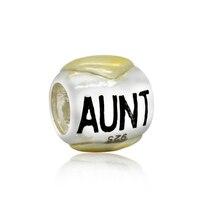 שני טון משפחה דודה אותנטי לב 100% 925 כסף קסם חרוז Fit פנדורה קסמי אירופיים צמיד M