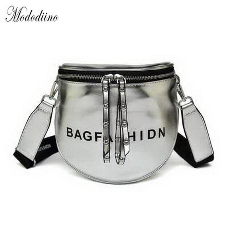 Mododiino Silver Shoulder Bag Rivet Crossbody Bags For Women Letter Bag PU Leather Messenger Bag Brand Designer Women Bag DV1072
