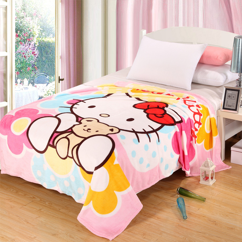 Hello Kitty Blanket for Adult/Kids Plush Fleece Bed Blankets Cartoon Blanket Throw on The Bed/Sofa/Car 200*150cm Free Shipping