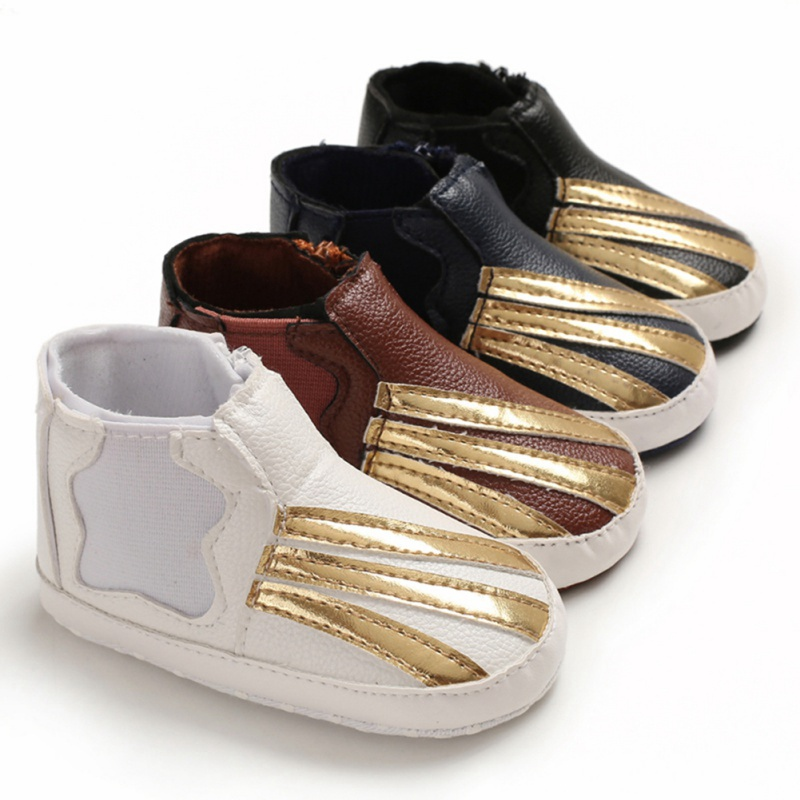 Baby Boy Breathable Gold Patchwork Design Anti-Slip Shoes Casual Sneakers Toddler Soft Soled First Walkers #