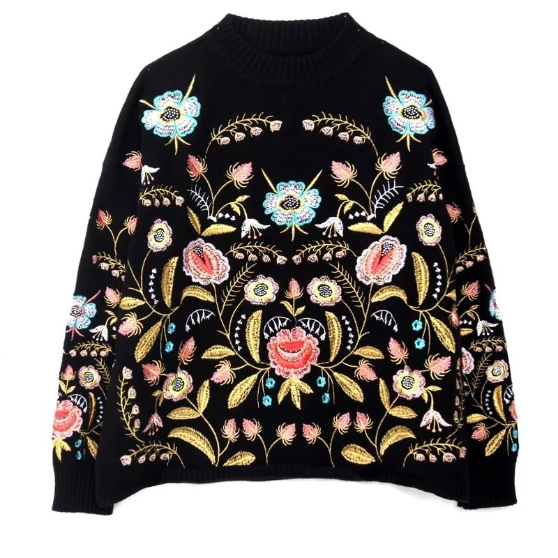 LANMREM 2019 Round Collar Flowers Embroidery Top Loose Korean Spring Autumn Long Sleeve Woman's New Fashion Sweater FA50001
