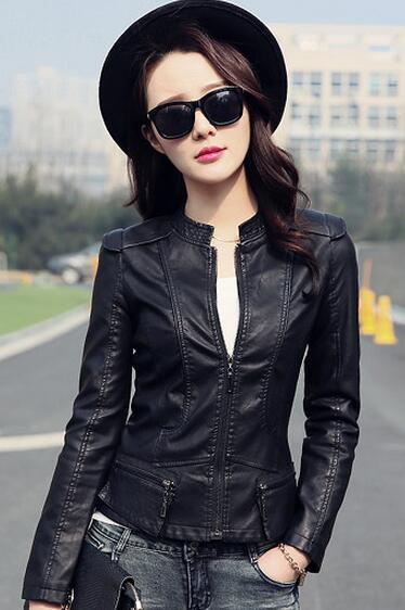 Women PU   Leather   Jackets Female Zippers Coat spring Autumn Short Outwear spring Autumn Short Outwear Female motorcycle coat