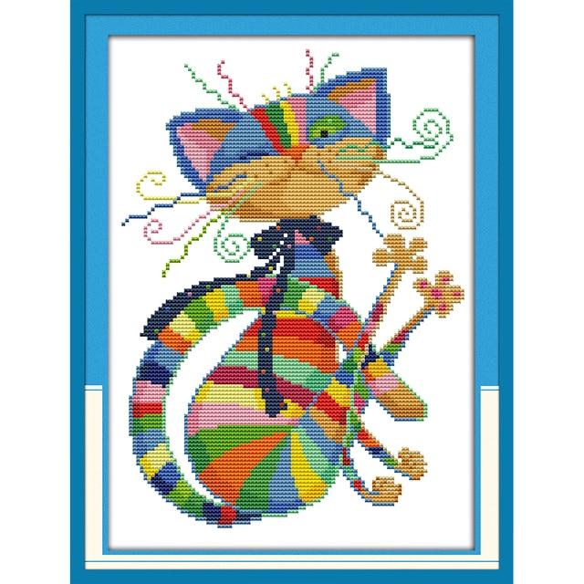 Tình yêu vĩnh cửu Giáng Sinh Đầy Màu Sắc mèo bông Sinh Thái Trung Quốc cross stitch kits tính đóng dấu cửa hàng Mới bán hàng khuyến mãi