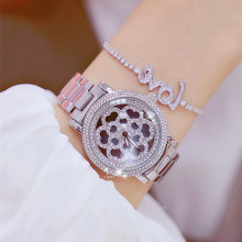 New Flower Dial Women Watches Fashion Lady Diamond Casual Wristwatch Female Silver Rhinestone Quartz Woman Watch