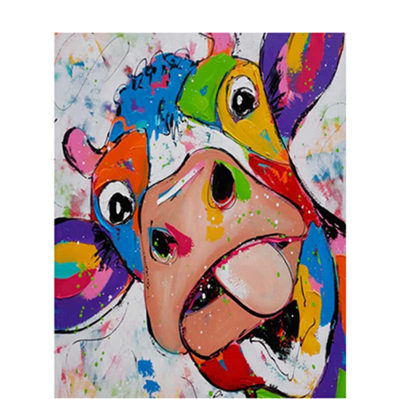 牛串こと自分舌動物数字による Diy デジタルペインティング現代壁アートキャンバス絵画ユニークなギフトホーム Decor40x50cm
