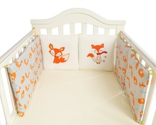 Cotton Animal Fox Baby Bedding Bumpers Bed Protection Around Cushion