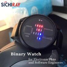 Reloj binario con pantalla LED, regalo especial y a la moda para hombres fanáticos de la electrónica, Software, ingenieros, estudiantes de ciencias