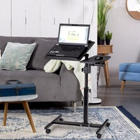 Goplus Angle And Height Adjustable Laptop Desk Rolling Notebook Sofa Bed Table Stand Modern Home Office