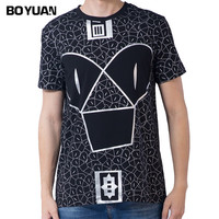 BOYUAN Summer New Mens T Shirt Fitness T Shirts Printed Fashion Male Short Sleeve Cotton Clothing