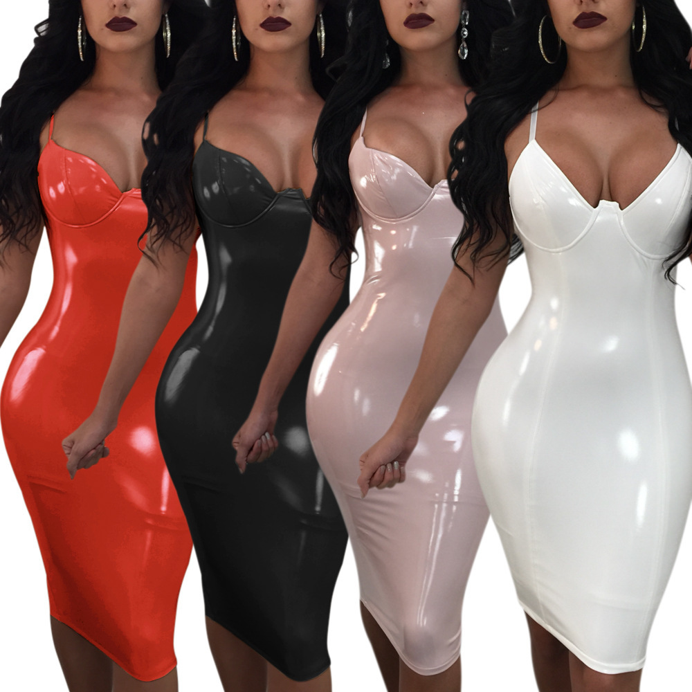 New 2018 Fashion Women Bandage Bodycon Sheath Sleeveless Clubwear Party Short Leather Dress V Neck Black Red Dresses