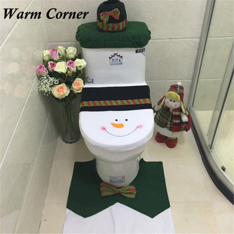 Warm Corner LM 2016 New Arrival 3PC Set Fancy Snowman Toilet Seat Cover And R