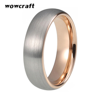 6mm Rose Gold Ring for Women Tungsten Carbide Engagement Ring Silver Matte Surface Comfort Fit Wedding Jewelry