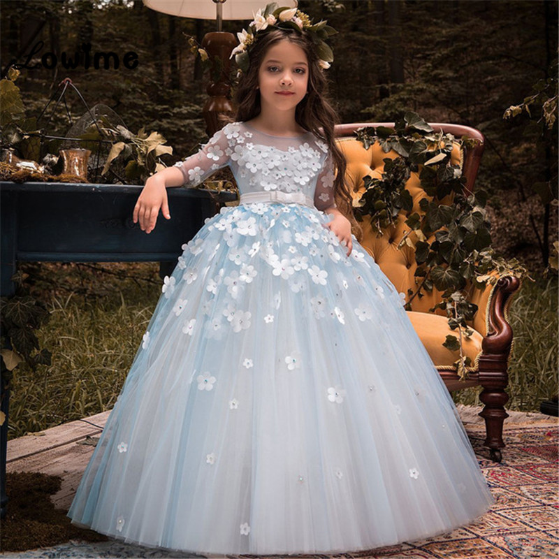 2018 New   Flower     Girl     Dresses   For Weddings Ball Gown Kids Evening Gown First Communion   Dresses   Vestido Longo Comunion