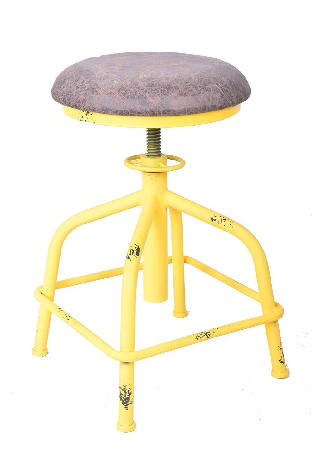 American Antique Industrial Design PU Leather Bar Stool Round Seat Adjustable Height Swivel Chair