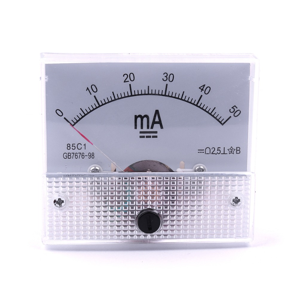 1Pcs Panel Mounting DC 0-50mA Analog Current Meter Ammeter 91C4