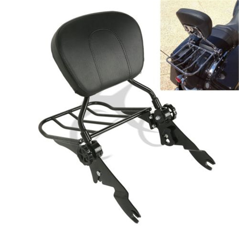 Black Backrest Sissy Bar Luggage Rack For Harley Touring Road King Street Glide 09-18 Motorcycle Accessories
