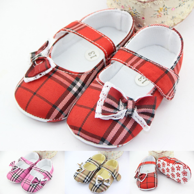 Baby girl shoes / cute plaid bow soft bottom toddler shoes / Free Shipping