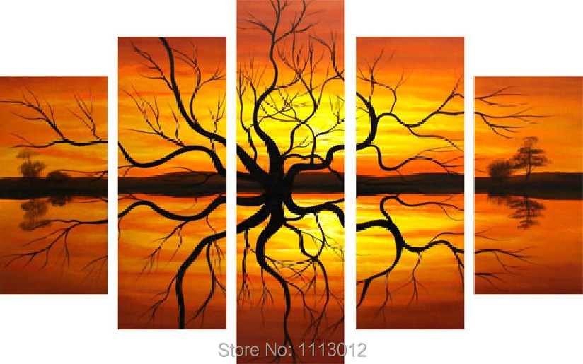 ᓂHigh Quality Tree Oil Painting On Canvas 5 pcs Set Home Landscape ...
