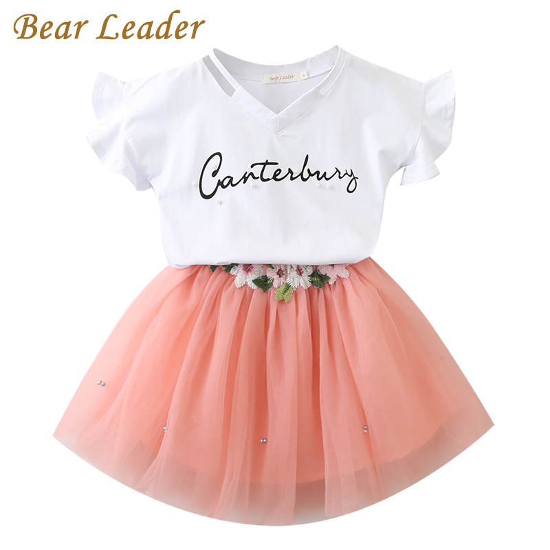 Bear Leader Girls Clothing Sets 2017 Brand Girls Clothes Butterfly Sleeve Letter T-shirt+Floral Volie Skirts 2Pcs for Dress Gril