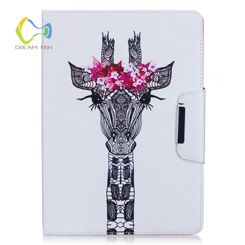 DREAM FISH New PU Leather Giraffe with garland Cover for iPad Air 2 case Smart stand Cover crazy horse Case for ipad tablet