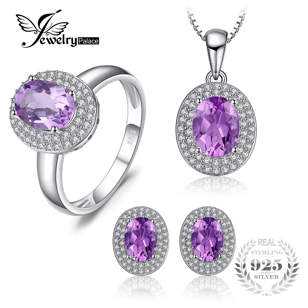 JewelryPalace Classic 4.3 Genuine Amethyst Halo Ring Pendant Necklace Stud Earrings Jewelry Sets 925 Sterling Silver 45cm chain jewelrypalace 2 55ct natural lemon quartz halo ring stud earrings pendant neckalce chain 45cm 925 sterling silver jewelry sets
