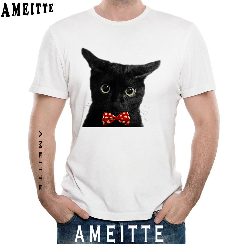 Hipster Cool Black Cat with bowtie  Printed T-Shirt Men Summer Short Sleeve Funny Kitten Design Man Tops Cool Boy Casual Tees