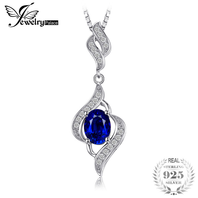 JewelryPalace Elegant 1.95ct Created Blue Sapphire 925 Sterling Silver Pendant N