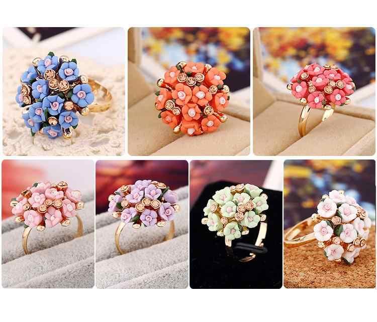 QCOOLJLY ร้อนขายแฟชั่นหรูหรา Blooming หมั้นผู้หญิงเครื่องประดับคริสตัลแต่งงาน Finger แหวนดอกไม้