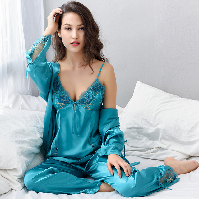 f7fbdb4fc5 Xifenni Pajama Female Sexy Satin Silk Sleepwear Women Long-Sleeve Pyjamas  Pants Sets Lace Embroidery Faux Silk Nightwear X1533