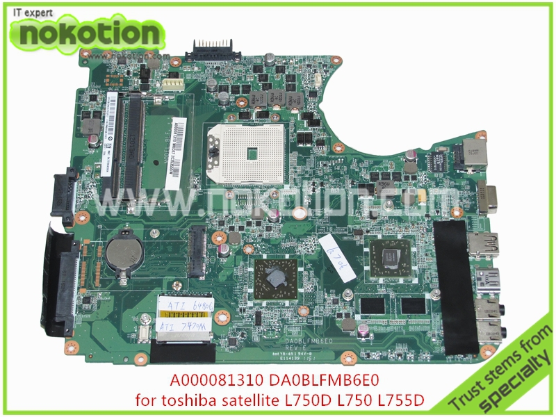 NOKOTION A000081310 Laptop Motherboard For toshiba satellite L750D L750 L755D DA0BLFMB6E0 ATI 7400M DDR3 Mainboard full tested v000138330 laptop motherboard for toshiba satellite l300 ddr2 full tested mainboard free shipping
