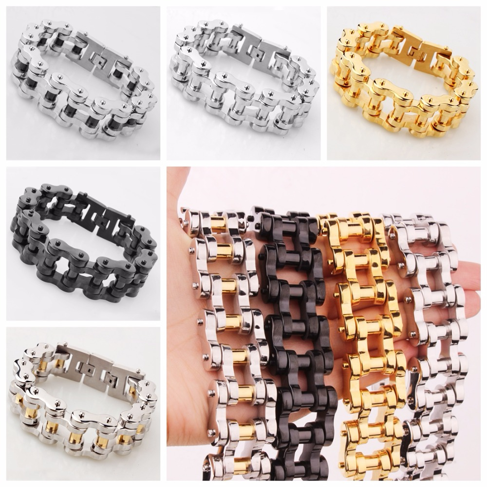 22mm Wide Heavy Hug Stainless Steel Motorcycle Bicycle Chain Bracelet Silver Gold Black Color Strong Men's Cuff Jewelry 9″/8.66″