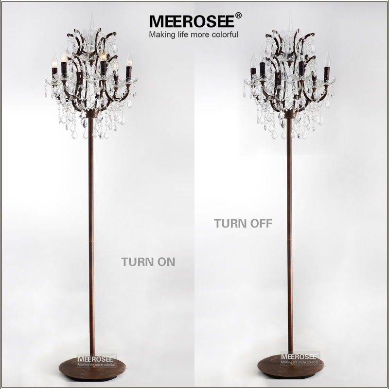 popular vintage style crystal floor lamp rust red color stand lamp with 6 lights for reading